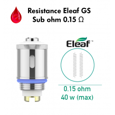 Mèches, Résistances Resistance 0,15 Ohm TC Eleaf GS sub ohm