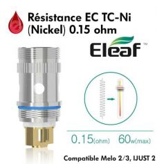 Resistance Eleaf EC TC-Ni - 0.15Ω (Nickel) - Melo 2/3 et iJust 2 Eleaf