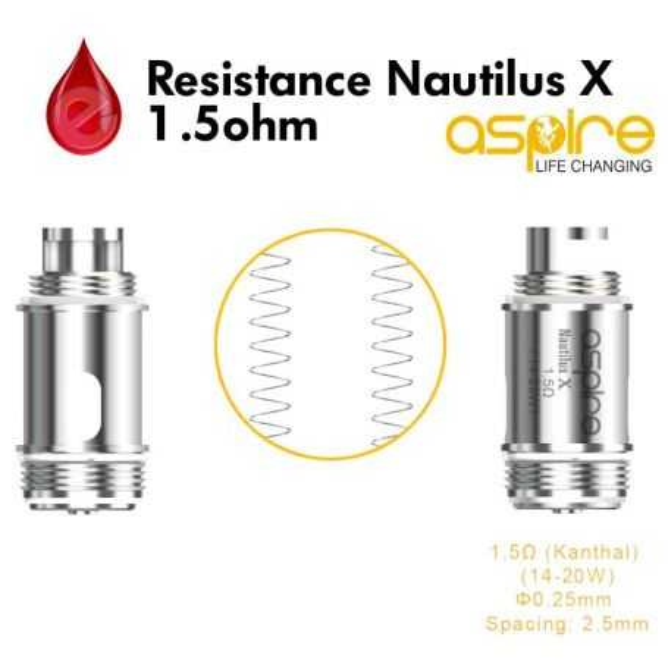 Mèches, Résistances Resistance 1,5ohm aspire Nautilus X U-Tech