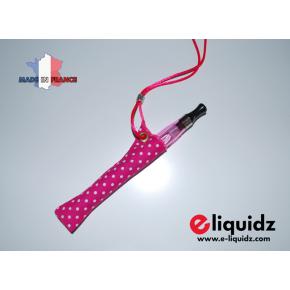 PORTE E-CIGARETTE FUCHSIA PETITS POINTS BLANCS tour de cou fabrication française