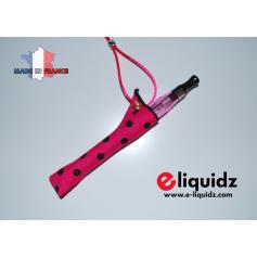 Rangement, porte-cigarettes, tour de cou PORTE E-CIGARETTE FUCHSIA GRANDS POINTS NOIR étui fabrication française