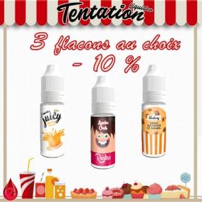 Pack de 3 e-liquide tentation moins 10 pourcent
