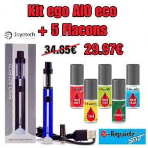 Pack eGo AIO + 5 e-liquidz START
