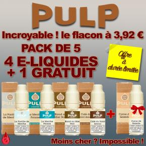 5 eliquides PULP pour le prix de 4