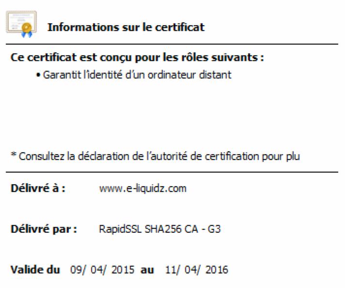 certifié TLS SSL ie