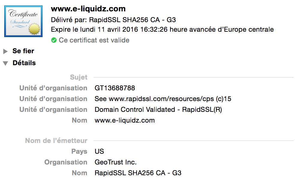 certifié TLS SSL safari 2